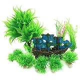 PietyPet 水槽オーナメント用 水族館の植物 そして 沈没船 アクアリウム 水槽 オブジェ オーナメント 9個