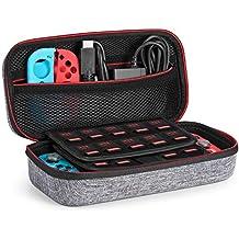 KetenTech Nintendo Switch ケース 任天堂Switch セミ ハード ケース 改良型 消臭処理 防汚 耐衝撃 ニンテンドースイッチ保護カバー 収納バッグ ハンドストラップ付 ゲームカードケース(グレー)