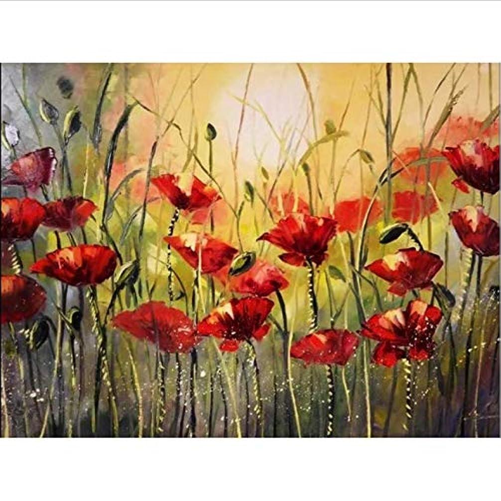 曲がった不振該当するDIY 数による絵画 ケシの花デジタル油絵家の装飾ユニークなギフト-50*65cm