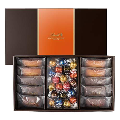 リンツ (Lindt) チョコレート 焼き菓子ギフト [ フィナンシェ 10個/4種 リンドール 20個/7種 ] 個包装 ギフトセット ショッピングバッグL付