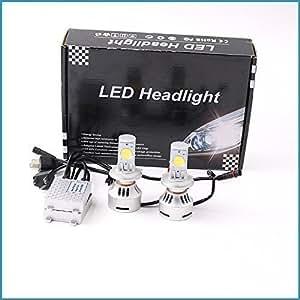 【e-auto fun】本当の第4世代LEDヘッドライト H4 HI/LO 6500K(ホワイト) 6400ルーメン H05 CREEチップ 両面 LEDバルブ 2本セット 安心な1年保証付き!