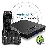 Kingbox Android TVボックス、k3Android 7.1ボックスwith Amlogic s912オクタコア64ビット2GB / 16gbサポートデュアルWiFi 2.4+ 5ghz / 4K UHD / BT 4.0/ 1000m LAN AndroidスマートTVボックス、無料ミニキーボード[トップ構成]