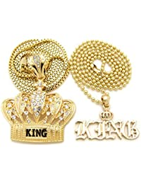 Iced Out King、キングクラウンペンダント24で、「30」チェーン2ネックレスセットゴールドトーンbjn26