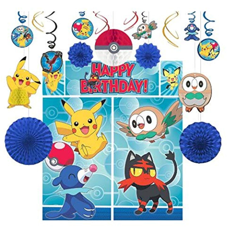 ポケモン パーティ グッズ デコレーションキット ウォールポスター スワール シーンセッター 飾りつけ 装飾 誕生日 子供部屋 (並行輸入品) pokemon set
