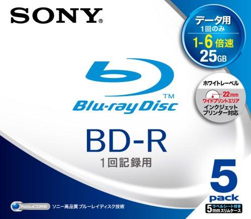 SONY 日本製 データ用BD-R 追記型 片面1層25GB 6倍速 プリンタブル 5枚P 5BNR1DBPS6