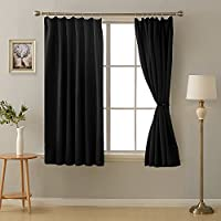 Deconovo 1級遮光 カーテン 全16色 UVカット 断熱 昼夜目隠し 2枚セット 幅100cm丈135cm ブラック