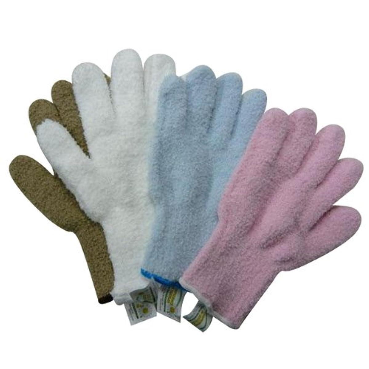 偏心梨手のひらウルトラ?マイクロファイバー手袋 エコテックスタグ付き×4色セット(KE702-WH?SB?BE?PK) 5007an