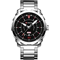 CURREN Men's Watch Stainless Steel Watchband Wristwatches Waterproof Quartz Watches with Calendar for Men 8266 (Silver-Black)