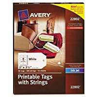blank printer compatible tags with strings 2 x 3 1 2 white 96