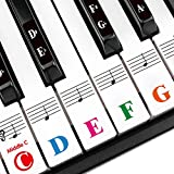 Piano Keys Stickers for 88/61/54/49/37 Key. Large Bold Colorful Letter Piano Stickers Perfect for kids Learning. Multi-Color,Transparent,Removable