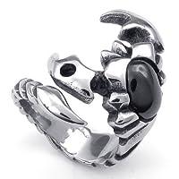 Aooazジュエリー メンズリング ステンレス指輪 ブラック CZダイヤモンド入りサソリ蠍デザイン ブラックとシルバー アクセサリー 日本サイズ19号(USサイズ9号)