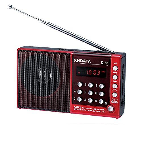 XHDATA® D-38 (日本語版取扱説明書) 新一代FMステレオ音声/中波/短波/MP3プレイ/DSPフルバンドラジオ D38 red (レッド)