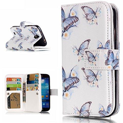 OMATENTI Samsung Galaxy S4 用 PUレザー手帳型ケース [強化ガラスフィルムを無料で贈ります] [無期限生涯補償付き] 耐摩擦 耐汚れ 全面保護 フリップ 人気 横開き スマートフォン カバー (バタフライ #2)