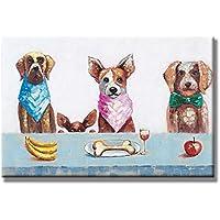 Chadow – 動物犬ファミリEnjoyランチ100 %ハンドペイントストレッチフレームウォールアート油彩画がハングする準備24 x 36インチ