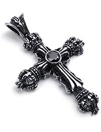 [テメゴ ジュエリー]TEMEGO Jewelry メンズキュービックジルコニアステンレススチールヴィンテージペンダントゴシッククロスクラウンネックレス、ブラックシルバー[インポート]