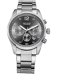 MEGIR メンズ ステンレス 鋼帯 多機能 カレンダー 日付 夜光インデックス 防水 ビジネス クォーツ 腕時計 2010 (シルバー&ブラック)
