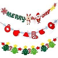 Alincoo クリスマス ガーランド 飾り フェルト 3点セット パーティー 飾り クリスマス サンタ ガーランド 壁飾り クリスマスツリー ツリ サンタクローズ 雪だるま