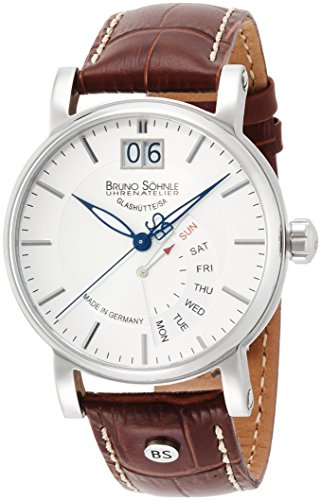 [ブルーノ・ゾンレー]BRUNO SOHNLE 腕時計 PESARO I ペサロ ワン 白文字盤 革ベルト クォーツ スモールセコンド ビッグデイト ポインターデイ メンズ 17-13073-241 メンズ 【正規輸入品】