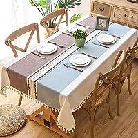 Elome(イローム) テーブルクロス テーブルカバー 食卓カバー ブルー コーヒー タッセル付き ストライプ 和風 長方形 正方形 リネン おしゃれ 北欧風 柄 模様 田園風 コットン 厚手 耐熱 綿麻 布 生地 キッチン ダイニングルーム インテリア