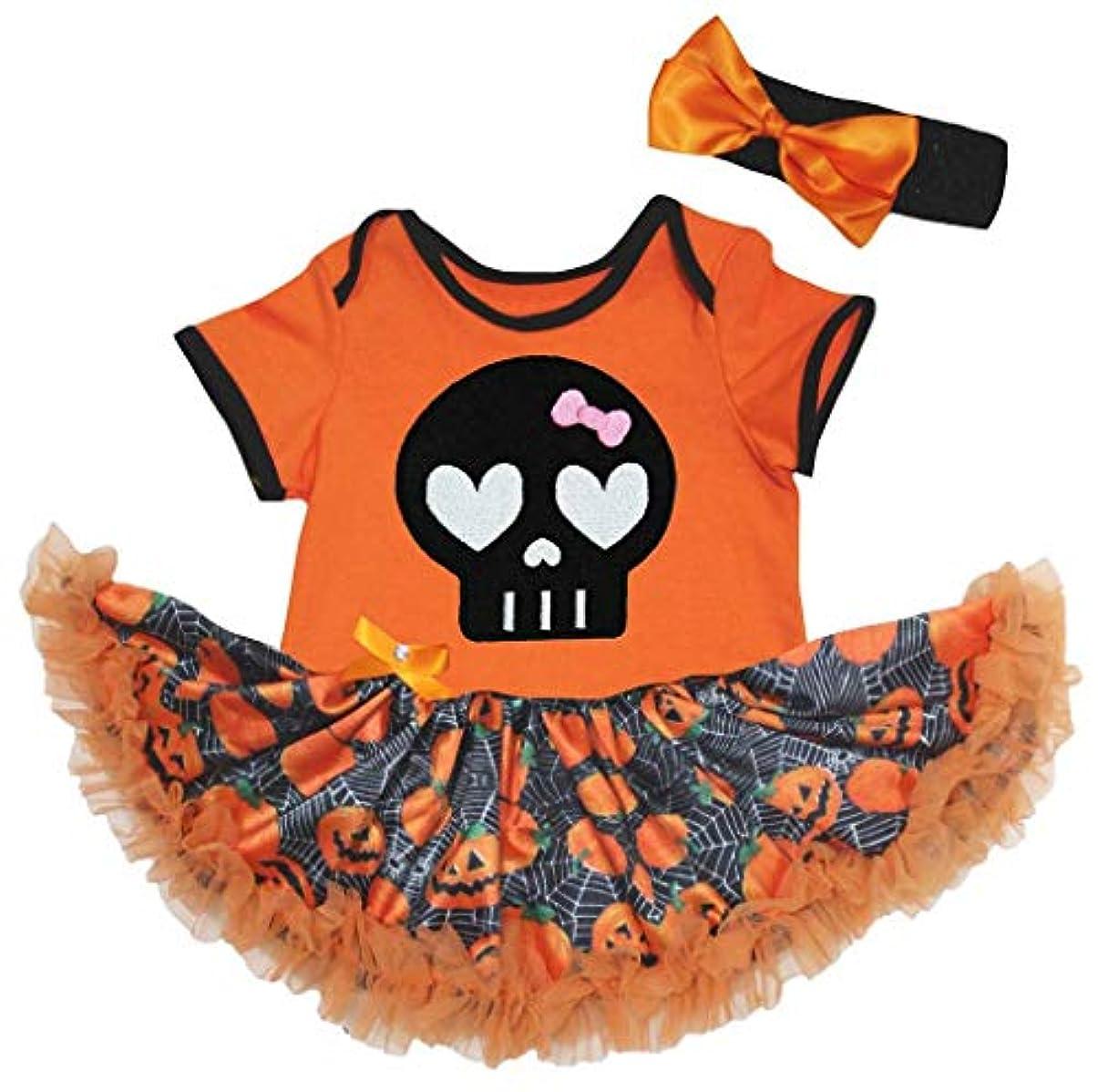 後者頭痛緊張[キッズコーナー] ハロウィン 頭蓋骨 オレンジ パンプキン カボチャ ボディスーツ、子供のチュチュ、ベビー服、女の子のワンピースドレス Nb-18m (オレンジ, X-Large) [並行輸入品]