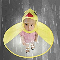 Mangjiu 雨具 レインコート かわいいレインコートUFO子供傘帽子魔法のハンズフリーレインコート 幼児 梅雨対策 通園 通学 男女兼用 かわいいレインコートUFO子供傘帽子魔法のハンズフリーレインコート (黄S)