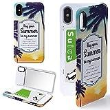 iPhone X/iPhone XS ケース カバー ミラー付き ヤシの木 海 ビーチ ブルー アイフォンX アイフォンXS アイフォンテンエス アイフォンテン アイフォン10 景色 サンセット iPhoneケース