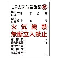 緑十字 高圧ガス標識 高306 LPガス貯蔵施設 燃 039306