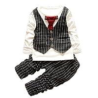 (セルフォ)SALEFO 男の子 フォーマル スーツ チェック柄 ワンタッチ ネクタイ ベスト Tシャツ 長袖 コットン 綿 上下2点セット ブラック 95(xl)