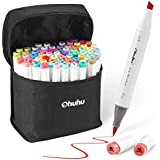 Ohuhu Alcohol Markers, Ohuhu Dual Tip, Brush & Chisel, Sketch Marker Set for Kids, Artist, Alcohol Brush Markers Bonus 1 Blender for Sketching, Adult Coloring, Calligraphy and Illustration Markers,Christmas Gifts (72 Colors)