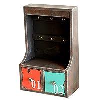 Anberotta ビンテージ風 木製 キーボックス 壁掛け 小物入れ 付き アンティーク調 収納 引き出し 鍵箱 キーケース インテリア雑貨 J42 (Aタイプ)