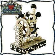 木彫り調フィギュア ミッキーマウス「おおい!ミッキー」 <蒸気船ウィリー> Ahoy Mickey ディズニー・トラディション