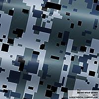 メトロラップシリーズNavy Largeデジタルカモフラージュ迷彩ビニールカーラップフィルム 5ft x 20ft (100 Sq/ft) ブルー LGDIGINAVY