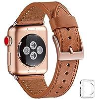 WFEAGL コンパチブル Apple Watch バンド,は本革レザーを使い、iWatch Series4/3/2/1、Sport、Edition向けのバンド交換ストラップです コンパチブル アップルウォッチ バンド (42mm 44mm, ブラウン バンド+ゴールド 四角い バックル)