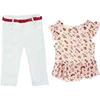 Shouhengda Little Girls' Bear Printed Irregular T-Shirt And Flower Pants Outfits