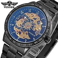 SJXIN 美しい機械式時計 T-winnerメカニカルウォッチメンズ両面中空スチールベルト機械式時計 (Color : 4)