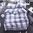 布団カバーセット セミダブル 洋式 洗った綿 布団カバー3点セット 寝具カバーセット ベッド用 ボックスシーツ 掛布団カバー 枕カバー チェック柄 (01, セミダブル)