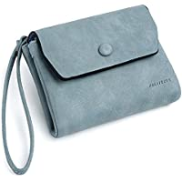 UTO Women Wristlet Small Wallet Compact Luxury Wax/Matte PU Leather Card Slot Zipper Coin Holder Purse