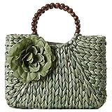 Monoa(モノア) フラワーモチーフ カゴバッグ レディース 花飾り ストロー ハンド バッグ かご編み グリーン