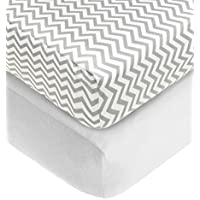 American Baby Company 2 Piece 100% Cotton Flannel Fitted Crib Sheet White/Gray Zigzag [並行輸入品]