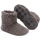 KUROO 暖かい ルームブーツ ボアブーツ メンズ レディース 室内履き ダークグレー L