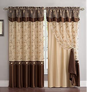 Fancy Collection Embroidery Curtain Set 1 Panel Chocolate Brown with Gold Drapes with Backing /& Valance Monica New Fancy Linen FBA/_14112538