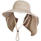 (レアノリ)Leonori つば広 帽子 紫外線 UV カット 水玉 ハット サンバイザー