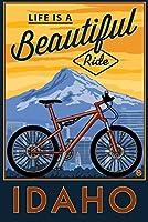 Idaho–Life Is A Beautiful Ride–Bike and Mountain押しArwork 16 x 24 Signed Art Print LANT-86257-709