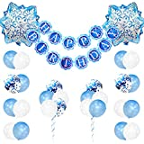ブルー誕生日飾り付け アナと雪の女王誕生日 ベービーシャワー ディズニー 女の子 キャラクター バルーン バナー 風船 紙吹雪入れ 可愛い