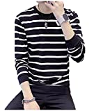 (ランドロップ) landrop ボーダー ニット Tシャツ メンズ 長袖 丸首 縞々 大きい サイズ Vネック メンズ カットソー ビック ビッグ ブレード ブルー ブラウン ブラック ブルゾン ベスト ベルスリーブ ベージュ ボタン ボウタイ ボッシュ uネック ボルドー sサイズ パール パープル パンク パフスリーブ パッチワーク プリント ロンT ロンt (L,ブラック)