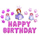 ソフィア 誕生日 飾り付け 女の子 可愛い ピンク 姫 ちいさなプリンセスソフィア happy birthday バルーン 風船 クラウン スターバルーン 15枚セット