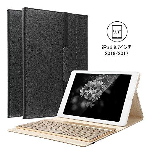 KVAGO iPad 9.7 2018/2017 キーボード7色のバックライト付き ワイヤレスBluetoothで接続 良質PUレザーケース スタンド機能付き iPad 9.7 キーボードカバー 新型 2018/2017 通用(ブラック)