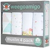 weegoamigo(ウィーゴアミーゴ) おくるみ ガーゼ 4枚 箱入り 4 Pack Muslin Fan and Games ファンアンドゲーム