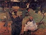 ゴーギャン・「マンゴーの木の下で」 プリキャンバス複製画・ 【立体仕上げ】(6号サイズ)