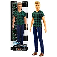 Mattel Year 2016 Barbie Ken Fashionistas 30cm Doll - KEN (DWK45) in Checked Style Green T-Shirt and Blue Denim Pants